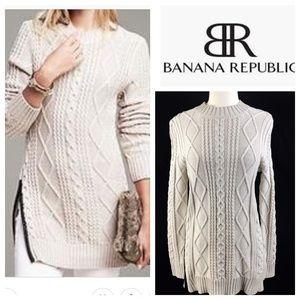 Banana Republic Beige Tan Cable Knit Tunic Sweater